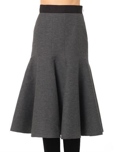 Lanvin Ribbed wool-blend midi skirt