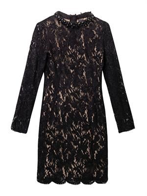 Embellished-neckline velvet-lace dress
