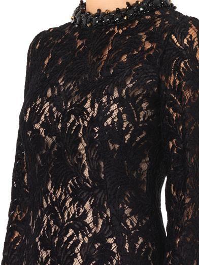 Lanvin Embellished-neckline velvet-lace dress
