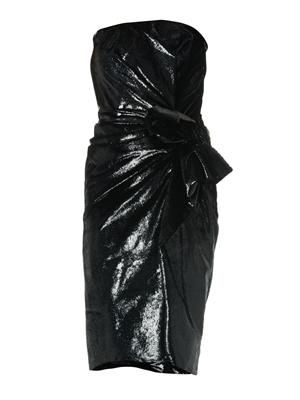 Metallic velvet strapless dress