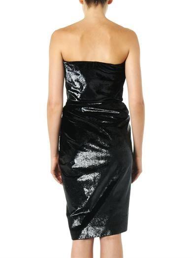 Lanvin Metallic velvet strapless dress