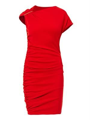 Ruched wool dress