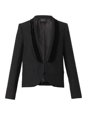 Velvet-trim wool-blend jacket