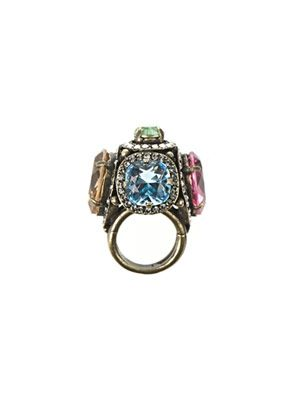 Multi-coloured crystal cocktail ring