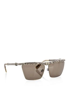 Snake-effect leather sunglasses