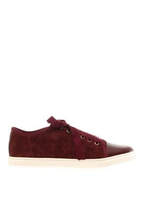 Suede and patent leather trainers