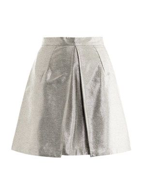 Box-pleat metallic skirt