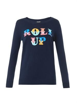 Roll up-embellished sweater