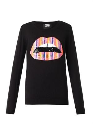 Lara sequinned-lips sweater