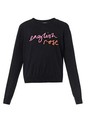 English Rose intarsia-knit sweater