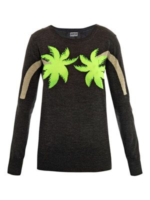Palm tree intarsia-knit sweater