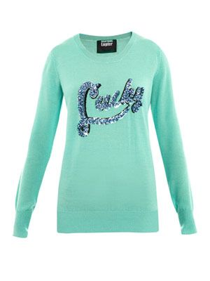'Lucky' embellished sweater