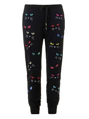 Evil Cat embroidered track pants
