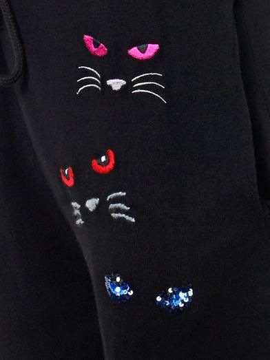 Markus Lupfer Evil Cat embroidered track pants