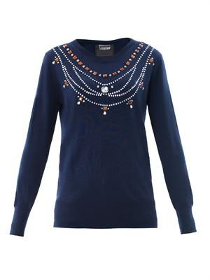 Daisy jewel necklace sweater
