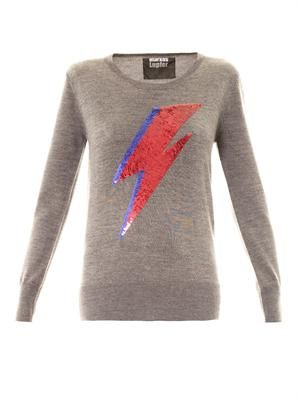 Bowie thunderbolt embellished sweater