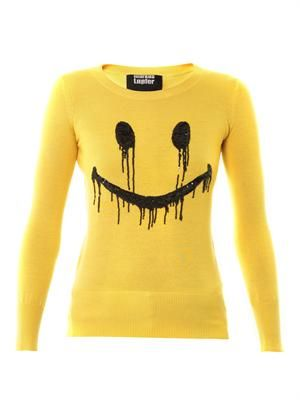 Smiley face sequin sweater