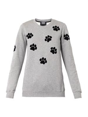 Flocked paw-print sweatshirt