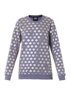Foil smacker-lip print sweatshirt