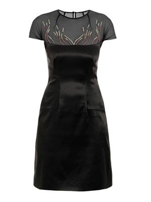 Embroidered stretch-satin dress