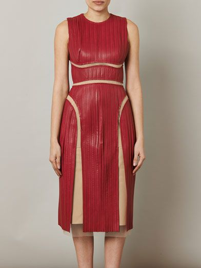 Marios Schwab Leather pleat dress