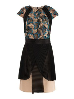 Embroidered and pleated dress
