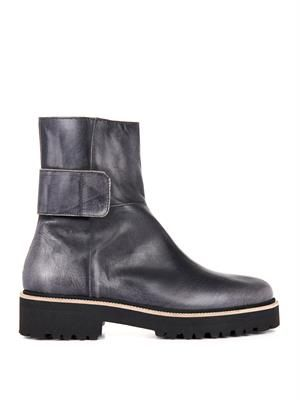 Burnished leather ankle boots