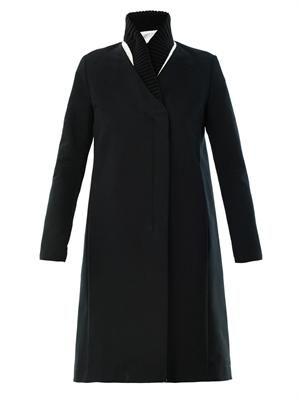 Ribbed-collar cotton coat