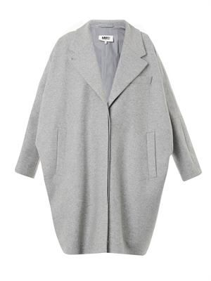 Oversized felted wool-blend cocoon coat