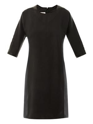 Contrast panel crepe dress