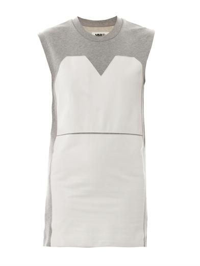 Maison Martin Margiela Mm6 Leather-panel cotton dress
