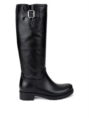 Rubber and coated-leather boots
