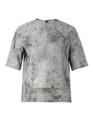 Shagreen-effect suede top