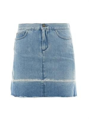 Frayed-edge denim skirt
