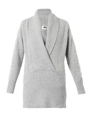 Shawl-neck wool-blend sweater