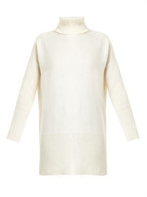 Roll-neck ribbed-knit sweater