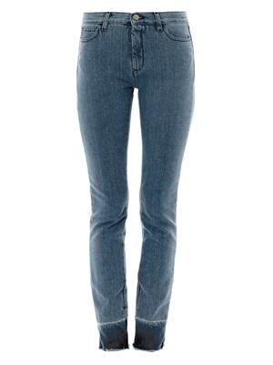 Frayed-hem high-rise straight-leg jeans