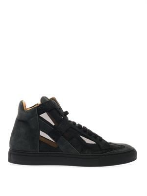 Suede and mesh high-top trainers