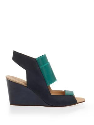 Rubber and suede wedge sandals