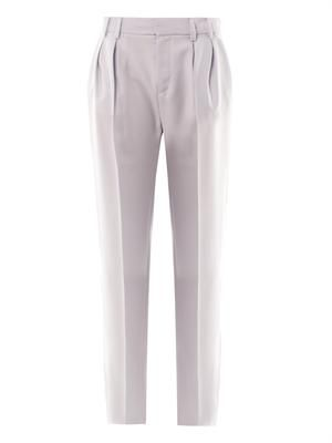 Wide-leg wool-crepe trousers