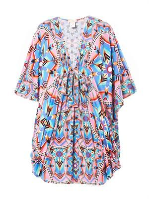Kites-print poncho dress