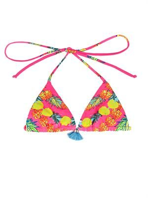 Garlands print triangle bikini top
