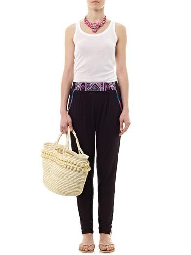 Mara Hoffman Embroidered jersey trousers
