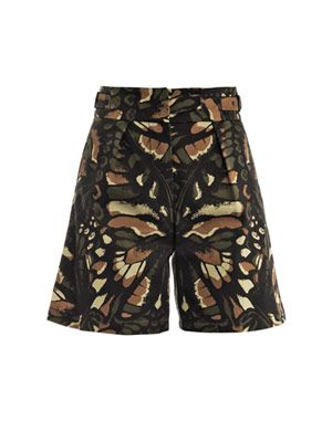 Butterfly print high-waisted shorts