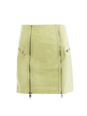 Leather zip detail mini-skirt