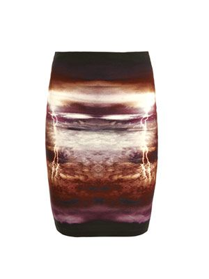 Lightning print tube skirt