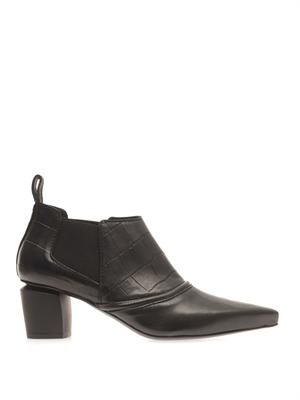 Point-toe leather ankle boots