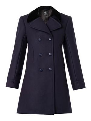Velvet-collar pea coat