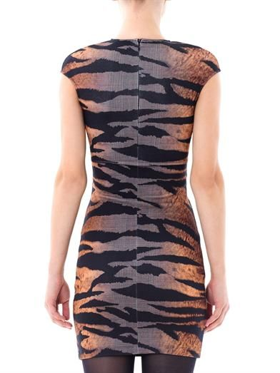 McQ Alexander McQueen Tiger and check-print dress