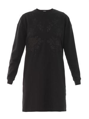 Embroidered sweatshirt dress